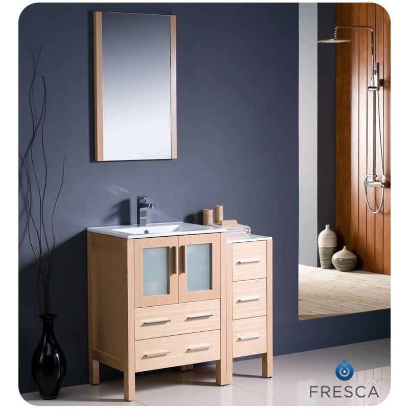 """Fresca FVN62-2412LO-UNS Torino 36"""" Modern Bathroom Vanity with Side Cabinet and Integrated Sink in Light Oak"""