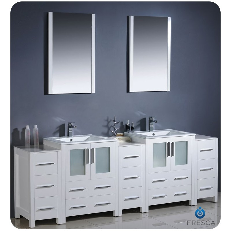 """Fresca FVN62-72WH-UNS Torino 84"""" Double Sink Modern Bathroom Vanity with 3 Side Cabinets and Integrated Sinks in White"""
