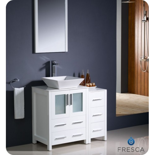 "Fresca Torino 36"" White Modern Bathroom Vanity w/ Side Cabinet & Vessel Sink"