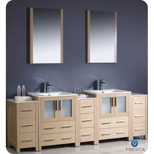 "Fresca Torino 84"" Light Oak Modern Double Sink Bathroom Vanity w/ 3 Side Cabinets & Integrated Sinks"