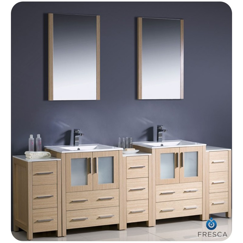 "Fresca FVN62-72LO-UNS Torino 84"" Double Sink Modern Bathroom Vanity with 3 Side Cabinets and Integrated Sinks in Light Oak"