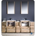 """Fresca FVN62-72LO-UNS Torino 84"""" Double Sink Modern Bathroom Vanity with 3 Side Cabinets and Integrated Sinks in Light Oak"""