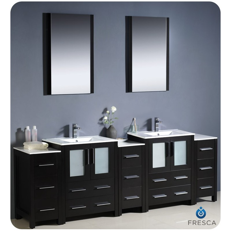 """Fresca FVN62-72ES-UNS Torino 84"""" Double Sink Modern Bathroom Vanity with 3 Side Cabinets and Integrated Sinks in Espresso"""