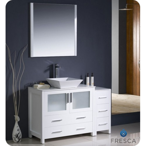 "Fresca Torino 48"" White Modern Bathroom Vanity w/ Side Cabinet & Vessel Sink"