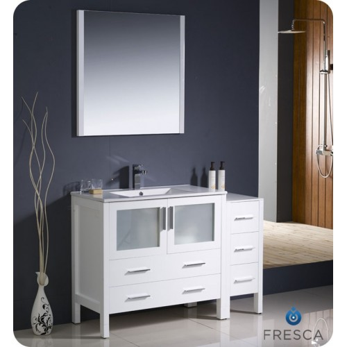 "Fresca Torino 48"" White Modern Bathroom Vanity w/ Side Cabinet & Integrated Sink"
