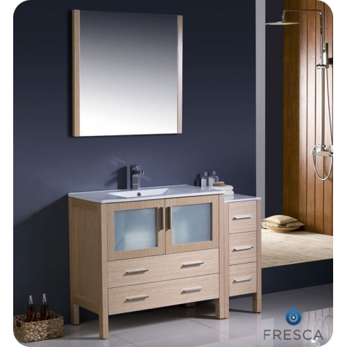 "Fresca Torino 48"" Light Oak Modern Bathroom Vanity w/ Side Cabinet & Integrated Sink"