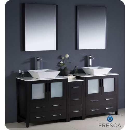 "Fresca Torino 72"" Espresso Modern Double Sink Bathroom Vanity w/ Side Cabinet & Vessel Sinks"