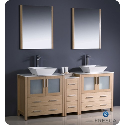 "Fresca Torino 72"" Light Oak Modern Double Sink Bathroom Vanity w/ Side Cabinet & Vessel Sinks"