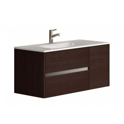 """Eviva Aries® 39"""" Wenge Modern Bathroom Vanity Wall Mount with White Integrated Porcelain sink"""