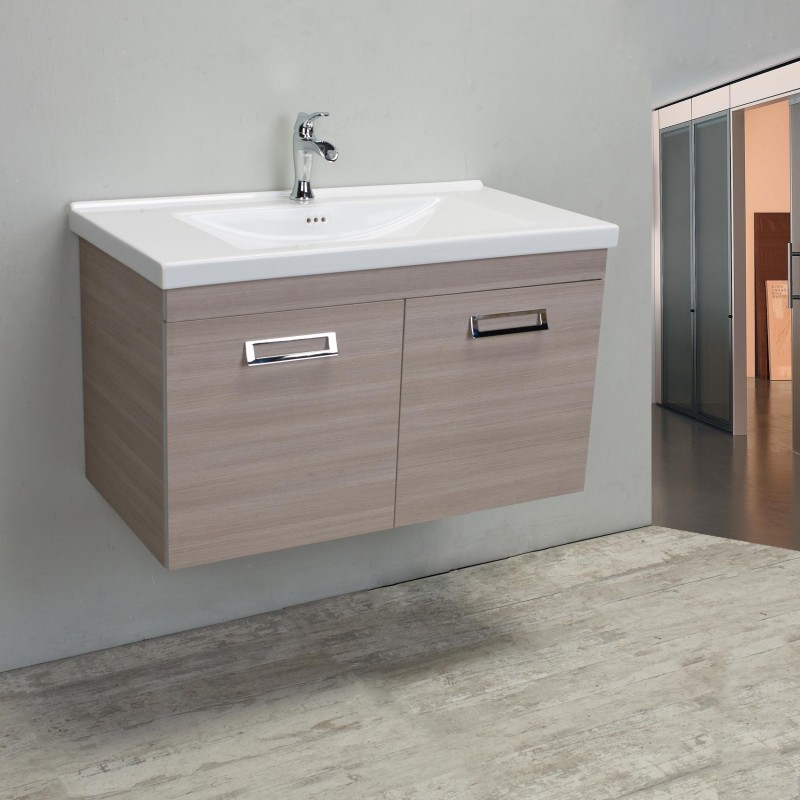 "Eviva Orleans 38"" Light Oak Modern Bathroom Vanity with White Integrated Porcelain Sink"