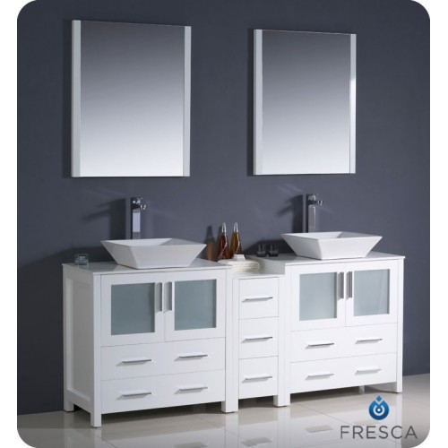 "Fresca Torino 72"" White Modern Double Sink Bathroom Vanity w/ Side Cabinet & Vessel Sinks"