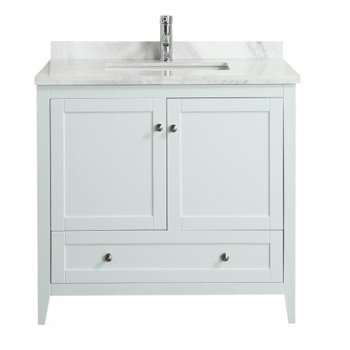 "Eviva Lime? 36"" Bathroom Vanity White with White Marble Carrera Top"