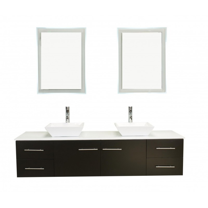 Totti Wave 72 inch Espresso Modern Double Sink Bathroom Vanity With Counter-Top And Double Sinks