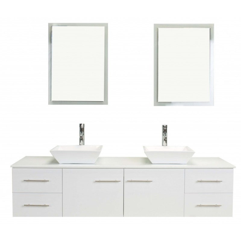 Totti Wave 60 inch White Modern Double Sink Bathroom Vanity With Counter-Top And Double Sinks
