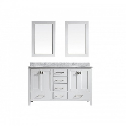 """Eviva Aberdeen 60"""" Transitional White Bathroom Vanity with White Carrera Countertop"""