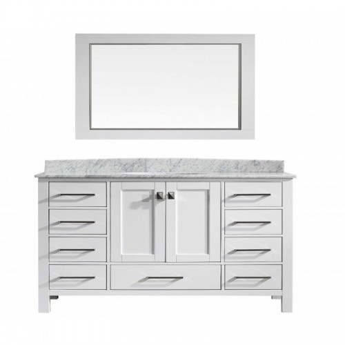 "Eviva Aberdeen 60"" Transitional White Single Bathroom Vanity with White Carrera Countertop"