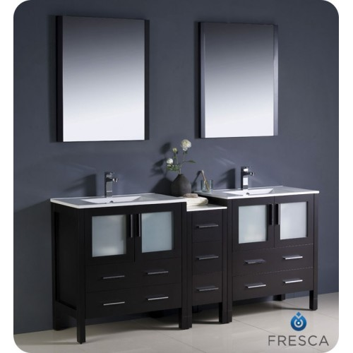 "Fresca Torino 72"" Espresso Modern Double Sink Bathroom Vanity w/ Side Cabinet & Integrated Sinks"