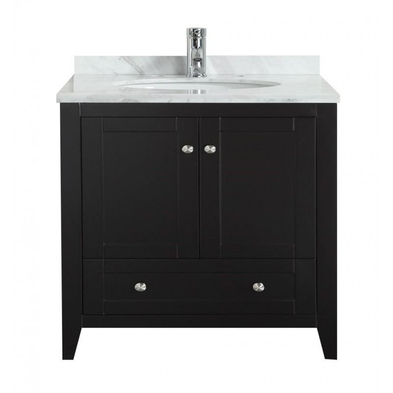 "Eviva Lime? 36"" Bathroom Vanity Espresso with White Jazz Marble Carrera Top"