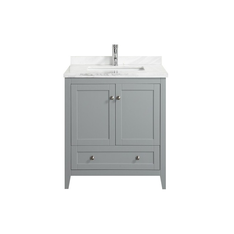 "Eviva Lime? 30"" Bathroom Vanity Chilled Grey with White Marble Carrera Top"