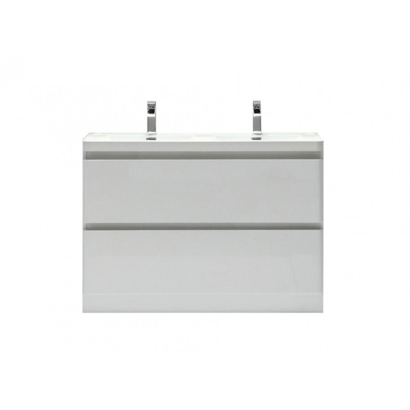 "Eviva Glazzy? 48"" White Modern Bathroom Vanity with White Acrylic Double Sink"
