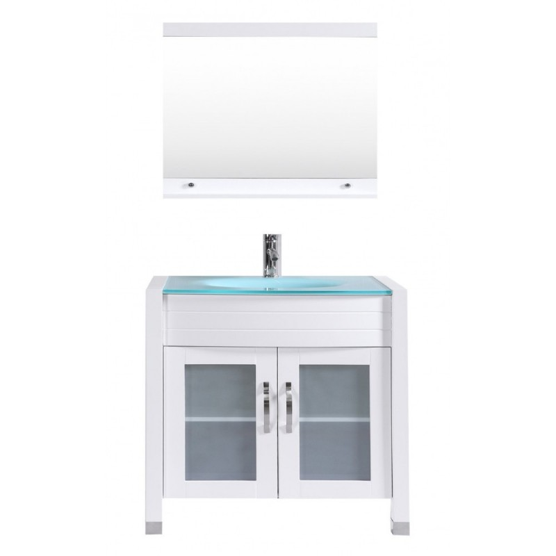 """Eviva Roca 36"""" White Bathroom Cabinet with Integrated Glass Tempered Sink"""