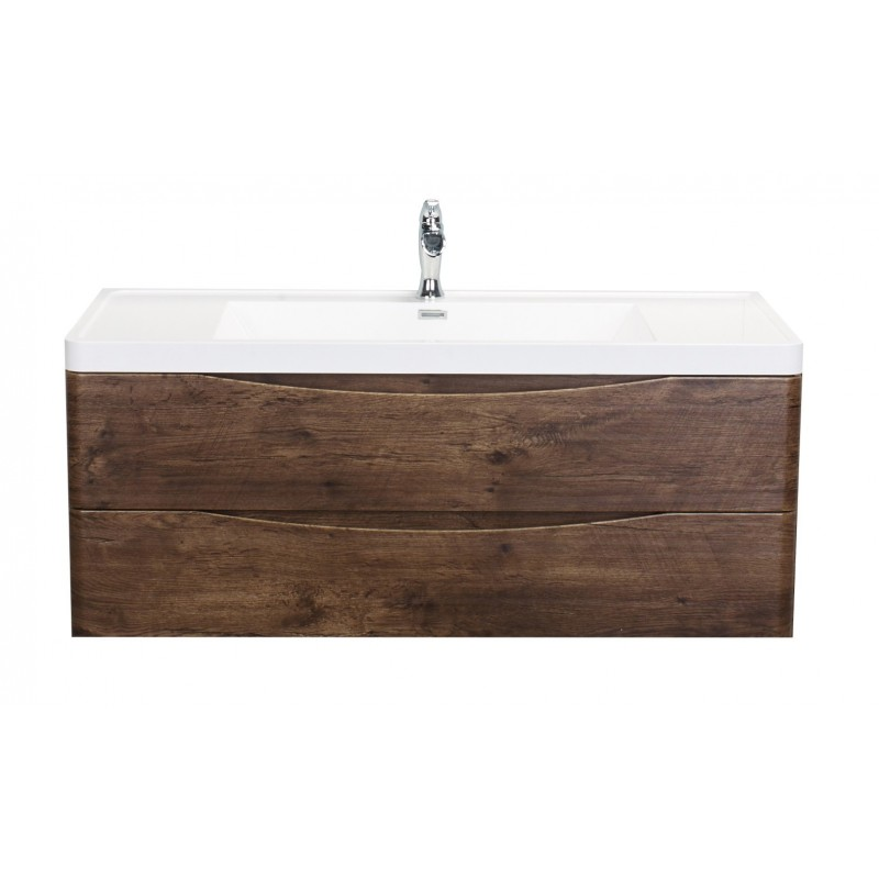 "Eviva Smile? 48"" Rosewood Modern Bathroom Vanity Set with Integrated White Acrylic Single Sink Wall Mount"