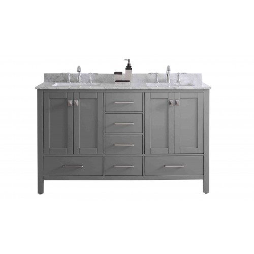 """Eviva Aberdeen 60"""" Transitional Grey Bathroom Vanity with White Carrera Countertop & Double Square Sinks"""