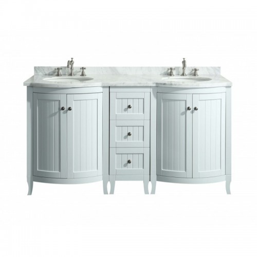 "Eviva Odessa Zinx+? 60"" White Bathroom Vanity with White Carrera Marble Counter-top and Porcelain Sink"