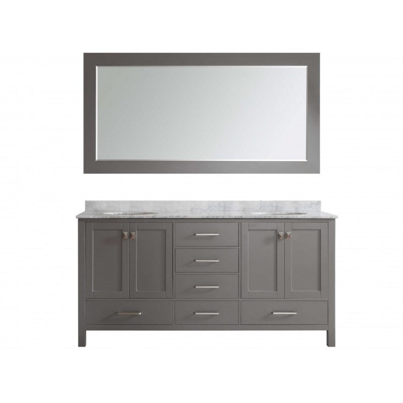 """Eviva Aberdeen 72"""" Transitional Grey Bathroom Vanity with White Carrera Countertop & Double Square Sinks"""