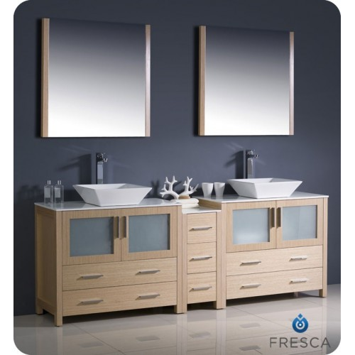 "Fresca Torino 84"" Light Oak Modern Double Sink Bathroom Vanity w/ Side Cabinet & Vessel Sinks"