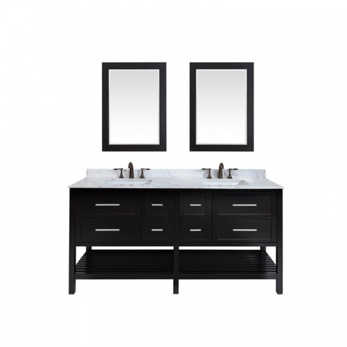 "Eviva Natalie F.? 72"" Espresso Bathroom Vanity with White Jazz Marble Counter-top & Double White Undermount Porcelain Sinks"