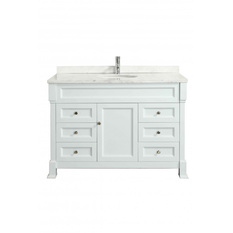 """Eviva Tim 48"""" White Bathroom Vanity with White Carrera Counter-top & Porcelain Sink"""