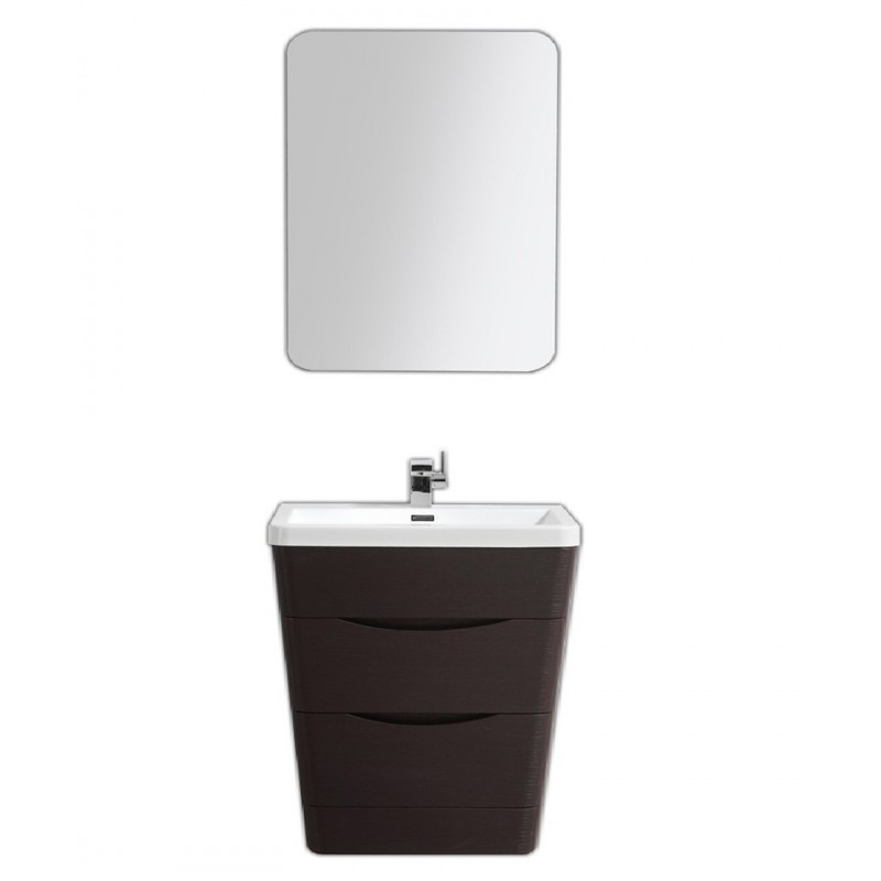 """Eviva Victoria 32"""" Chest Nut Modern Bathroom Vanity with White Integrated Acrylic Sink"""