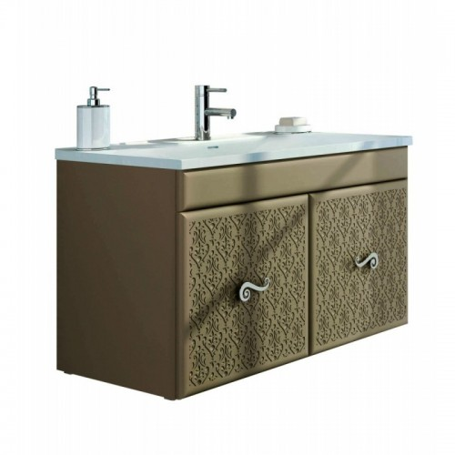 "Eviva Venice 32"" Brown Modern Luxury Bathroom Vanity with white Porcelain integrated sink."