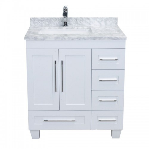 "Eviva Loon 30"" Long Handles (Acclaim Edition) Transitional White Bathroom Vanity with white carrera marble counter-top"