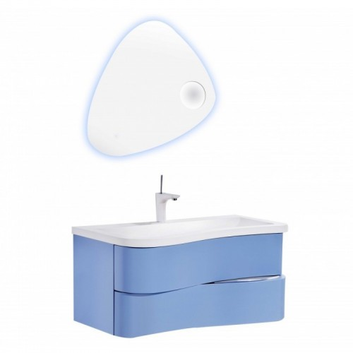 """Eviva Touch 36"""" Blue Wall Mount Modern Bathroom Vanity with White Integrated Acrylic Sink"""