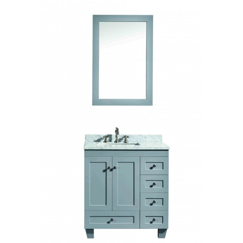 """Eviva Acclaim C. 30"""" Transitional Grey Bathroom Vanity with white carrera marble counter-top"""