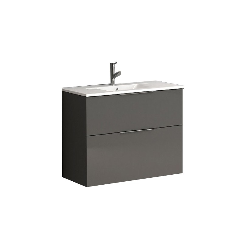 """Eviva Galsaky 28"""" Grey Modern Bathroom Vanity Wall Mount with White Integrated Porcelain Sink"""