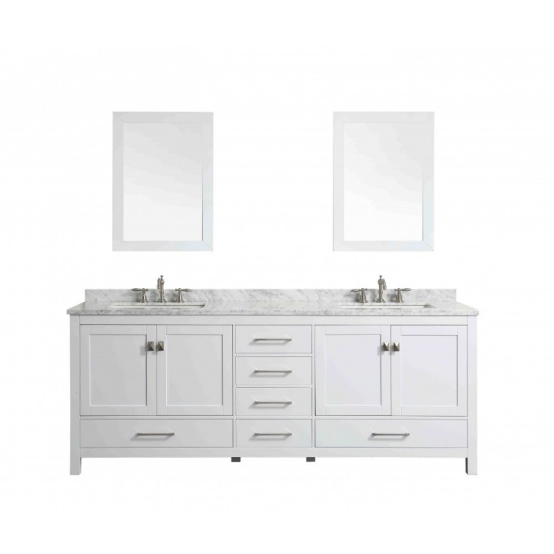"""Eviva Aberdeen 84"""" Transitional White Bathroom Vanity with White Carrera Countertop"""