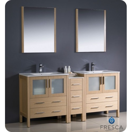 "Fresca Torino 72"" Light Oak Modern Double Sink Bathroom Vanity w/ Side Cabinet & Integrated Sinks"
