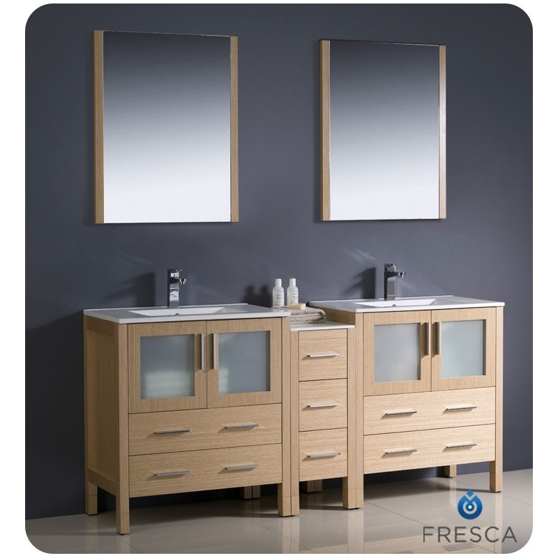 """Fresca FVN62-301230LO-UNS Torino 72"""" Double Sink Modern Bathroom Vanity with Side Cabinet and Integrated Sinks in Light Oak"""