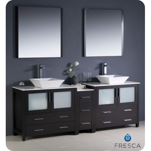 "Fresca Torino 84"" Espresso Modern Double Sink Bathroom Vanity w/ Side Cabinet & Vessel Sinks"