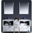 """Fresca FVN62-301230WH-UNS Torino 72"""" Double Sink Modern Bathroom Vanity with Side Cabinet and Integrated Sinks in White"""