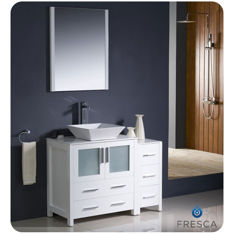 "Fresca FVN62-3012WH-VSL Torino 42"" Modern Bathroom Vanity with Side Cabinet and Vessel Sink in White"