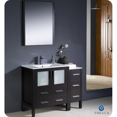 "Fresca Torino 42"" Espresso Modern Bathroom Vanity w/ Side Cabinet & Integrated Sink"