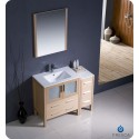 """Fresca FVN62-3012LO-UNS Torino 42"""" Modern Bathroom Vanity with Side Cabinet and Integrated Sink in Light Oak"""