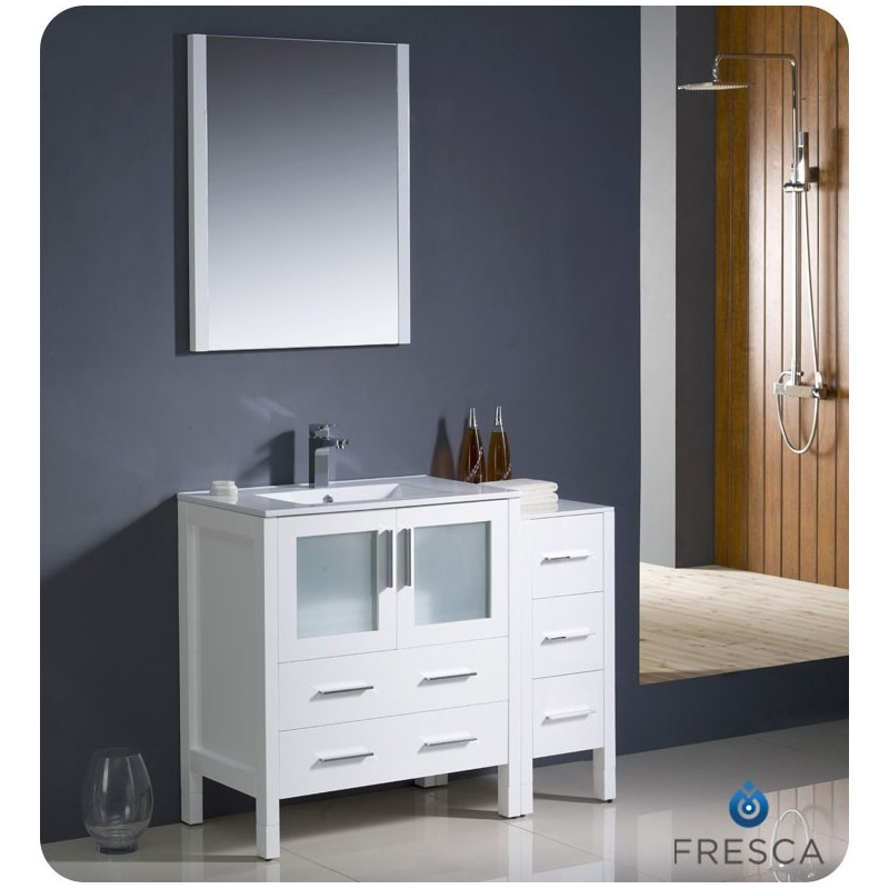 """Fresca FVN62-3012WH-UNS Torino 42"""" Modern Bathroom Vanity with Side Cabinet and Integrated Sink in White"""