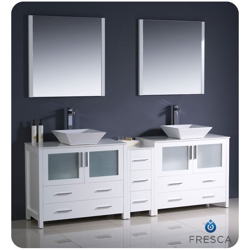 """Fresca FVN62-361236WH-VSL Torino 84"""" Double Sink Modern Bathroom Vanity with Side Cabinet and Vessel Sinks in White"""
