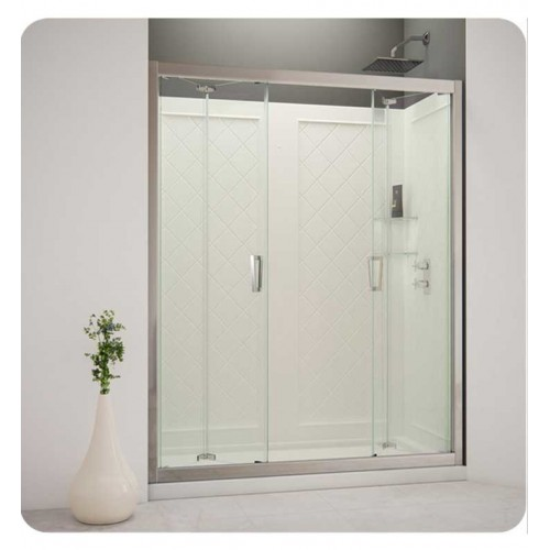 DreamLine Butterfly-DL-61 Butterfly Complete Shower Door Kit with Shower Base and Backwalls