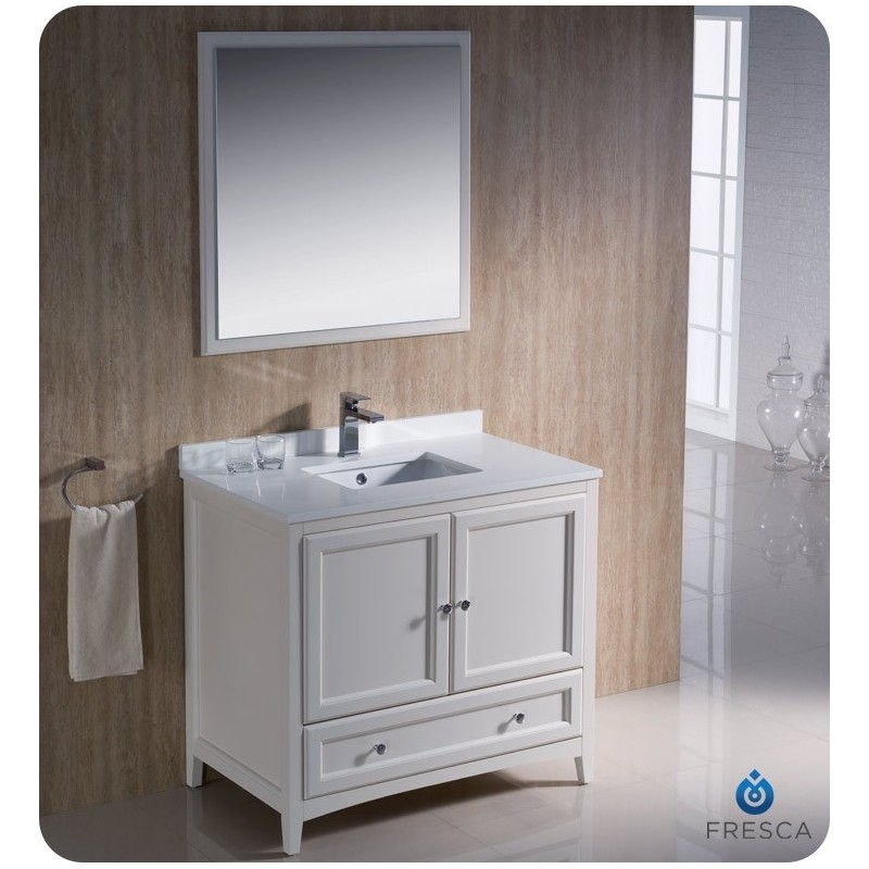"""Fresca FVN2036AW Oxford 36"""" Traditional Bathroom Vanity in Antique White"""